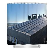 Aluminum Fishing Boat And Boots Drying On Fence Shower Curtain