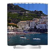 Amalfi Beach And Town Shower Curtain