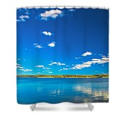 Amazing Clear Lake Under Blue Sunny Sky Shower Curtain