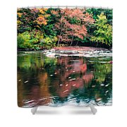 Amazing Fall Foliage Along A River In New England Shower Curtain