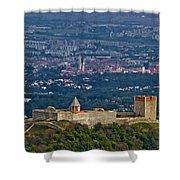 Amazing Medvedgrad Castle And Croatian Capital Zagreb Shower Curtain