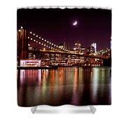 Amazing New York Skyline And Brooklyn Bridge With Moon Rising Shower Curtain