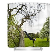 Amazing Stretching Exercise - Bmx Flatland Rider Monika Hinz Uses A Tree Shower Curtain