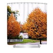 Amber Autumn Twins  Shower Curtain