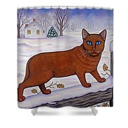 Amber On White Shower Curtain