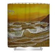 Amber Sunset Beach Seascape Shower Curtain