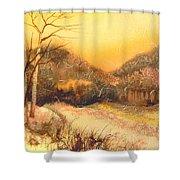 Amber Sunset Shower Curtain
