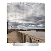 Amble Harbour And Village Shower Curtain
