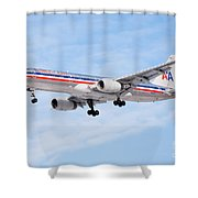Amercian Airlines Boeing 757 Airplane Landing Shower Curtain by Paul Velgos