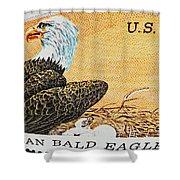 American Bald Eagle Vintage Postage Stamp Print Shower Curtain