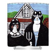 American Cat Gothic Shower Curtain