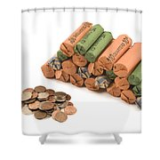American Coins On White Background Shower Curtain