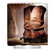 American Cowboy Boots Shower Curtain