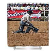American Cowboy Thrown From A  Bucking Rodeo Bronc Shower Curtain