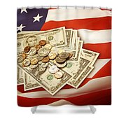American Currency  Shower Curtain by Les Cunliffe