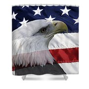 American Flag And Bald Eagle Shower Curtain by Jill Lang