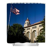 American Flag And Hoover Tower Stanford University Shower Curtain