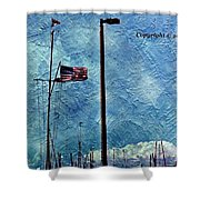 American Flag As A Painting Shower Curtain