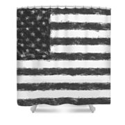 American Flag Charcoal Shower Curtain