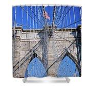 American Flag Flying Over Brooklyn Shower Curtain