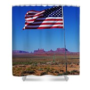 American Flag In Monument Valley Shower Curtain