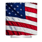 American Flag Shower Curtain by Leslie Banks