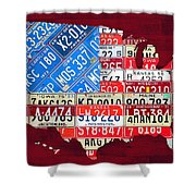 American Flag Map Of The United States In Vintage License Plates Shower Curtain by Design Turnpike