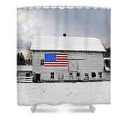 American Flag On A Pennsylvania Barn Shower Curtain