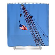 American Flag On Construction Crane Shower Curtain