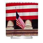 American Flag On The Front Shower Curtain