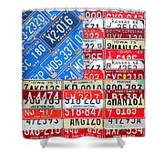 American Flag Recycled License Plate Art Shower Curtain