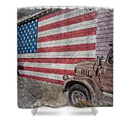 American Flag Route 66 Shower Curtain