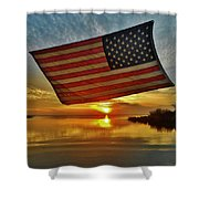 American Flag Sunset 14 2/18 Shower Curtain