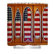 American Flag Surfboards Original Painting By Mark Lemmon Shower Curtain