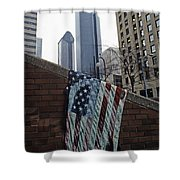 American Flag Tattered Shower Curtain