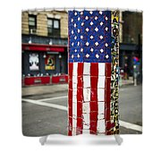 American Flag Tiles Shower Curtain