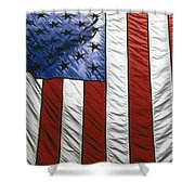 American Flag Shower Curtain by Tony Cordoza