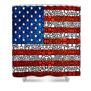 American Flag - Usa Stone Rock'd Art United States Of America Shower Curtain