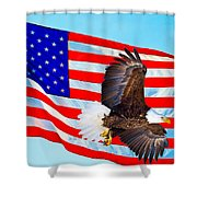 American Flag With Bald Eagle Shower Curtain