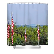 American Flags With Kennesaw Mountain In Background Shower Curtain