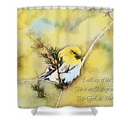 American Goldfinch On A Cedar Twig With Digital Paint And Verse Shower Curtain