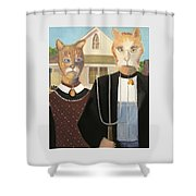 American Gothic Cat Shower Curtain