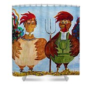 American Gothic Down On The Farm - A Parody Shower Curtain