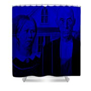American Gothic In Blue Shower Curtain