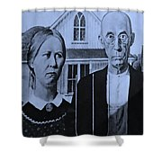American Gothic In Cyan Shower Curtain