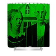American Gothic In Green Shower Curtain