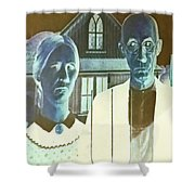 American Gothic In Negative Shower Curtain