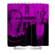 American Gothic In Purple Shower Curtain