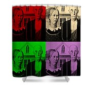American Gothic In Quad Colors Shower Curtain