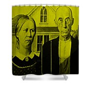 American Gothic In Yellow Shower Curtain